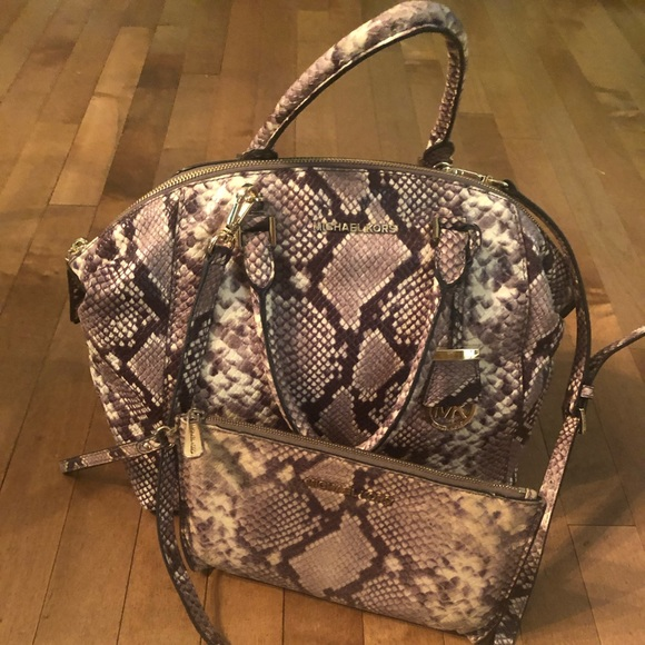 Michael Kors Handbags - Michael Kors Selma Snake Leather Satchel